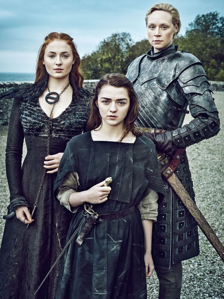 Sansa Stark (Sophie Turner), Arya Stark (Maisie Williams), and Brienne of Tarth (Gwendoline Christie)