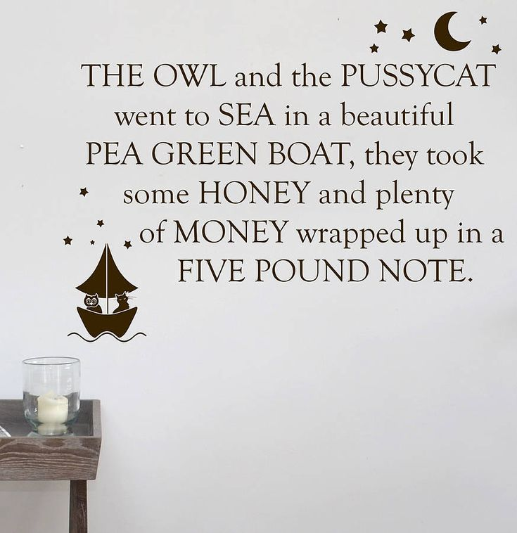 The Owl And The Pussycat Wall Sticker from notonthehighstreet.com