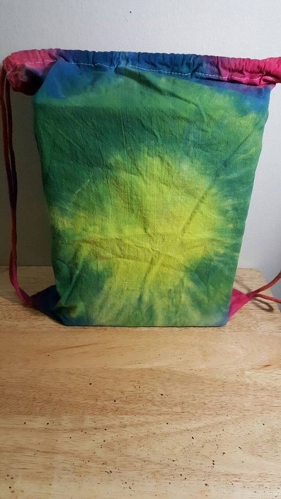 Tie Dye Drawstring Backpack Festival Bag by HippyNotHipster