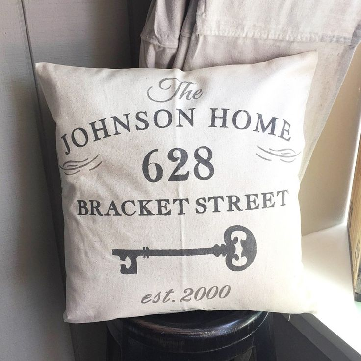"Custom Family Key Address Pillow Cover - 18""x18"" Farmhouse Style Pillow"