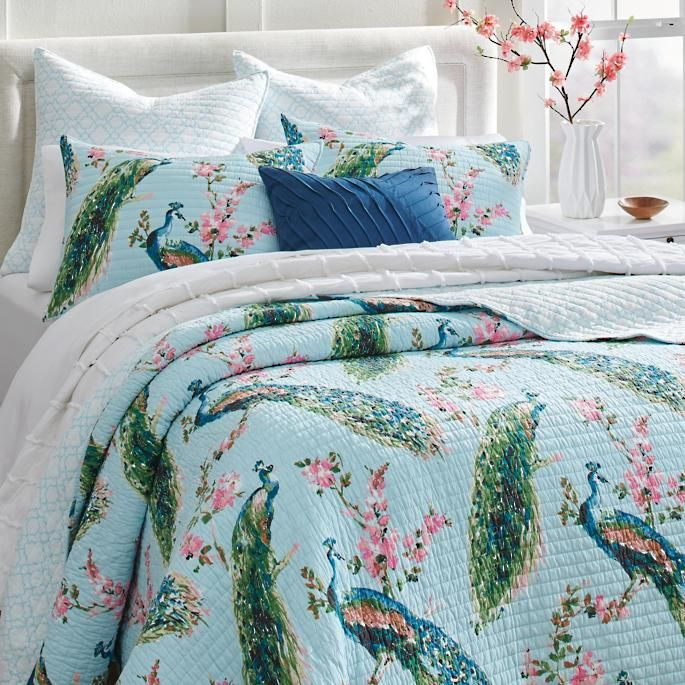 Giada Peacock Quilt And Shams Grandin Road In 2020 Peacock Quilt Peacock Bedding Peacock Decor Bedroom