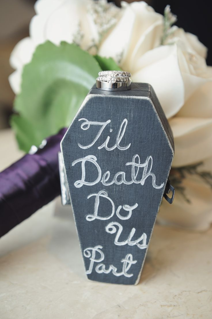 Punk Rock wedding ring box. Until death to us part wedding idea for gothic and halloween weddings