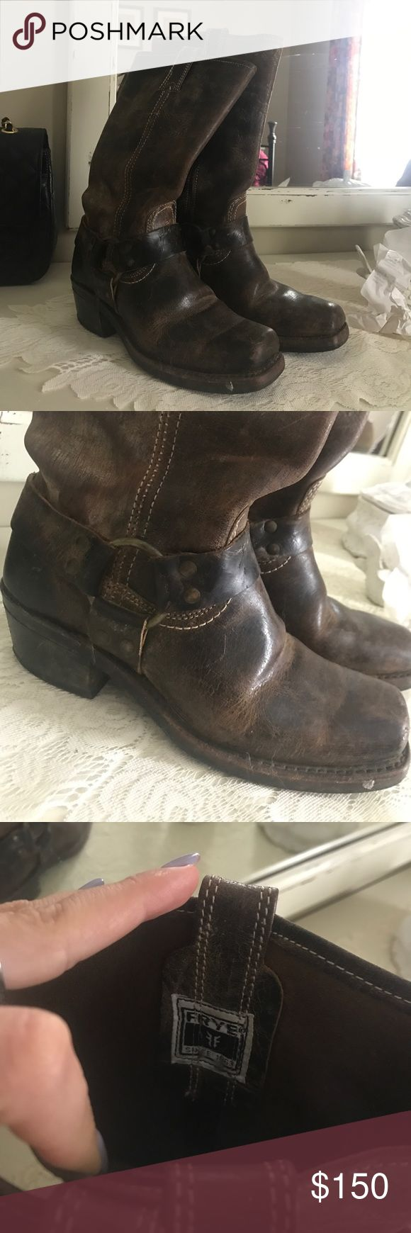 Leather Frye Boot Expresso In perfect condition with no damage, there's designed wear on these like any Frye boot but these have only been worn a few times. Just don't wear them enough to keep them Frye Shoes Combat & Moto Boots