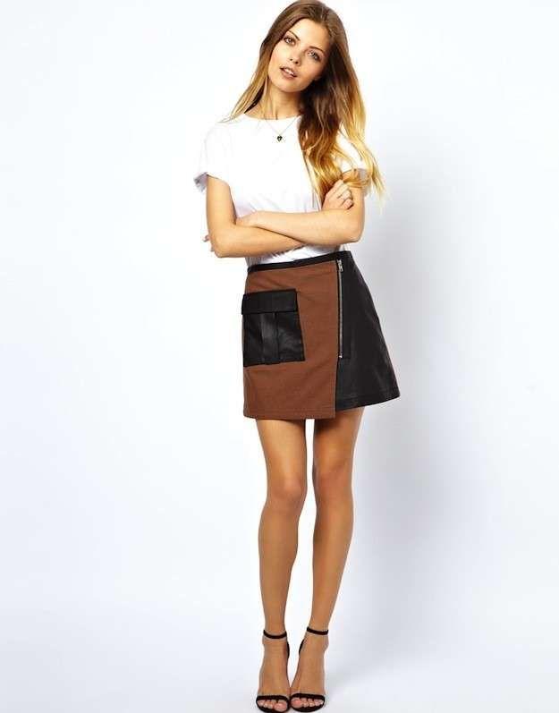 Cómo combinar la falda de cuero: Fotos algunos modelos - Minifalda cuero bicolor
