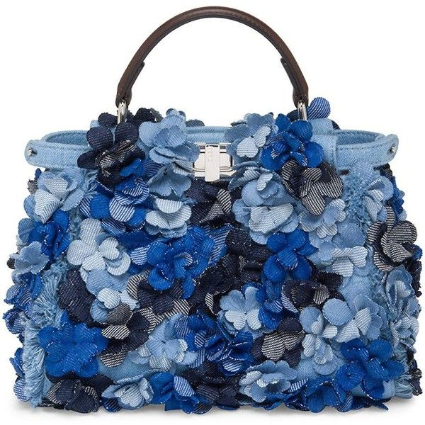 Fendi Mini Peekaboo Floral-Embellished Denim Satchel (249,250 PHP) ❤ liked on Polyvore featuring bags, handbags, purses, borse, satchel handbags, blue handbags, floral purse, mini purse and denim purse