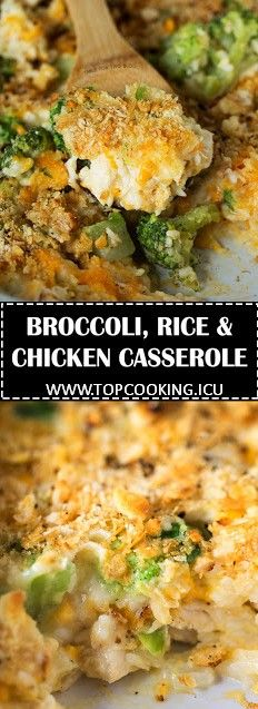 This easy broccoli, rice, and chicken casserole is topped with a buttery Ritz cr…
