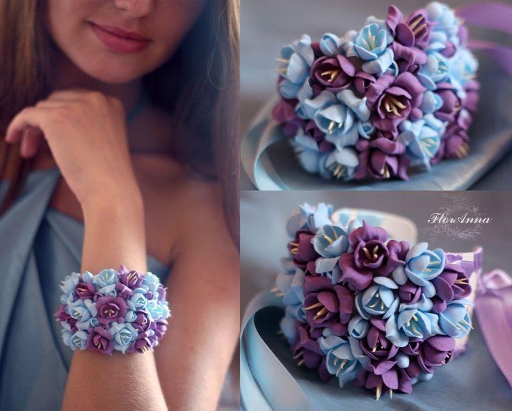 """""""Магия цвета"""" Polymer Clay Jewelry Свадебный браслет. Браслет с цветам, браслет невесты, нарядный браслет, браслет на руку с цветами, стильный браслет, браслет с цветами из полимерной глины."""