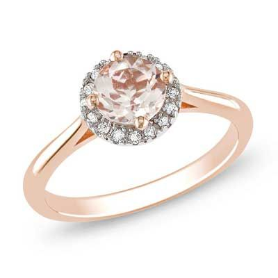 6.0mm Pink Morganite and Diamond Accent Frame Engagement Ring in 10K Rose Gold