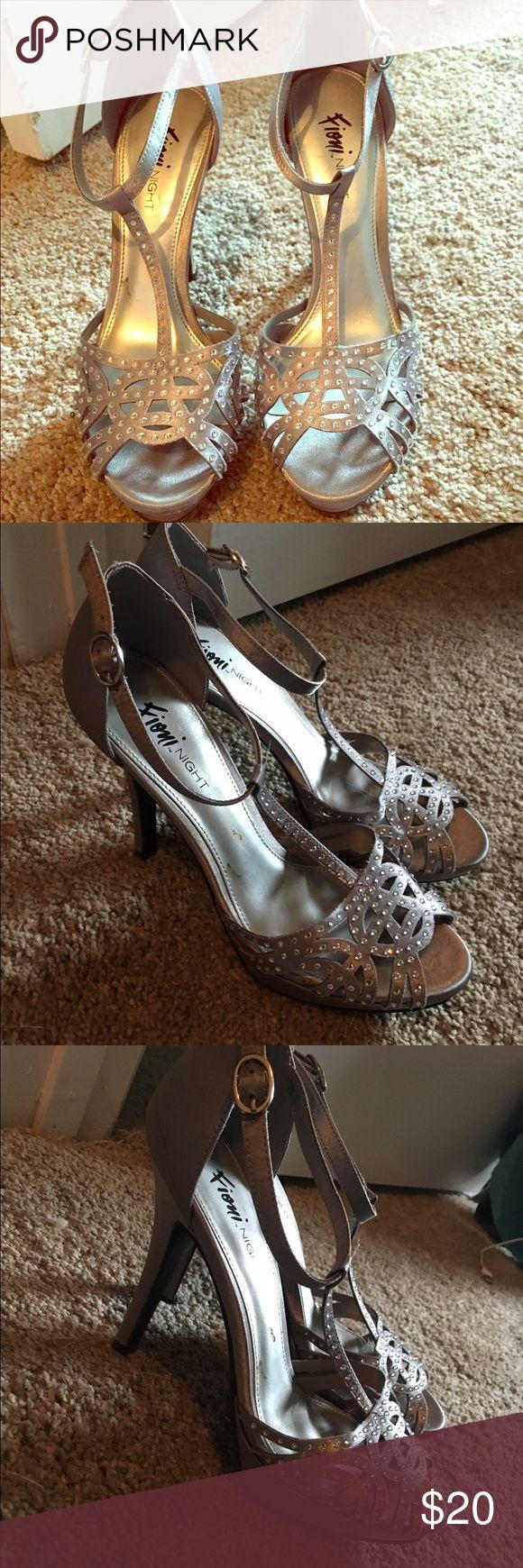 Silver strappy heels Formal strappy rhinestone heels fioni night Shoes Heels