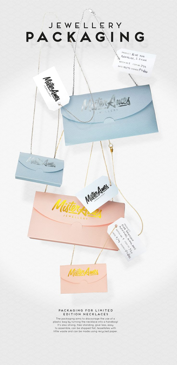 This packaging discourages the use of a plastic bag by turning the necklace into a handbag! It's also strong, free-standing, glue-less, easy to assemble, can be shipped flat, tessellates with little waste and can be made using recycled paper.