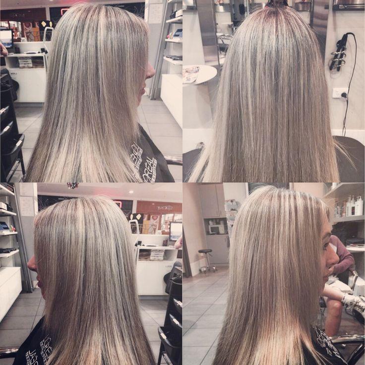 Half head of foils #ash #blonde #loreal