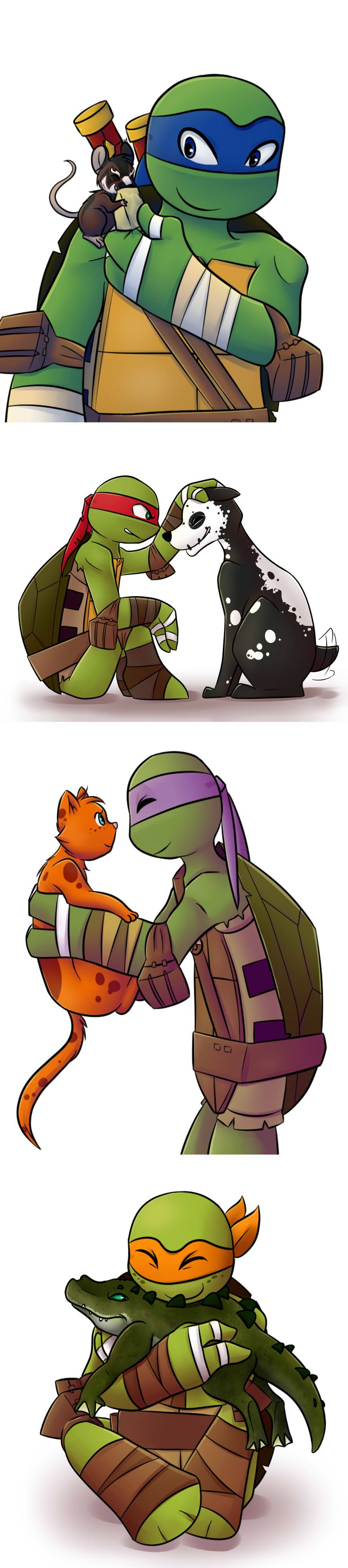 Why doesn't Raph has spike????????? It was still his pet. And a rat for Leo?
