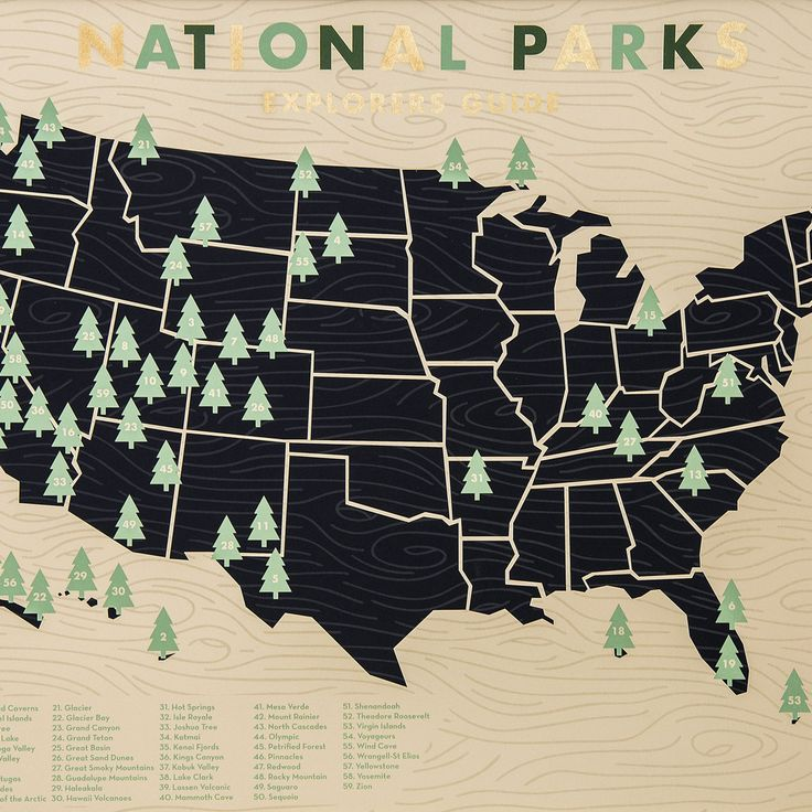 "An attractive and handy way to keep track of your national park bucket list, this 18"" x 24"" screen print looks great on the wall of any nature lover/camper. Now with corresponding tree stickers includ"