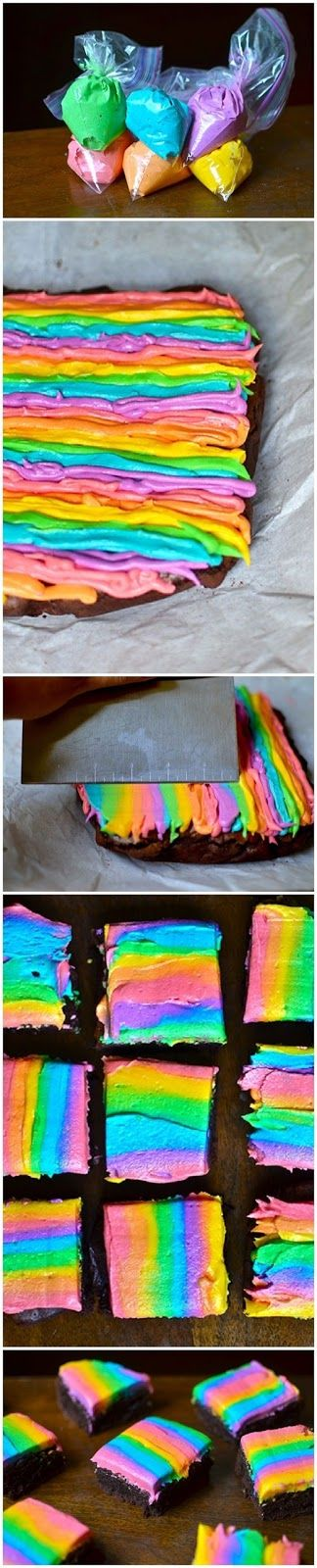 Rainbow Iced Brownies| Put lines of icing then smear with spatula. Gives off a really cool blended effect. This would look amazing as a spiral.