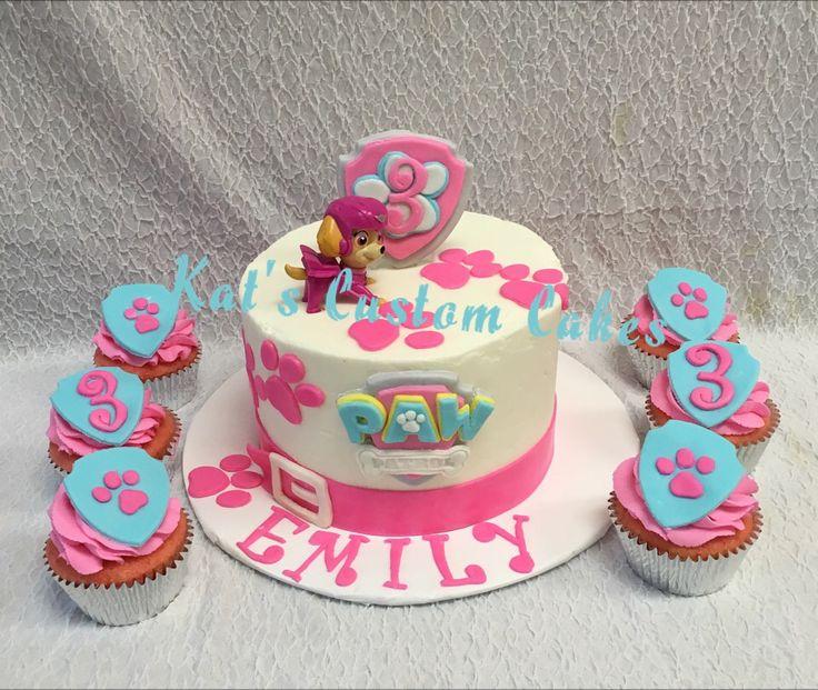Paw Patrol Skye 3rd Birthday Cake and Cupcakes