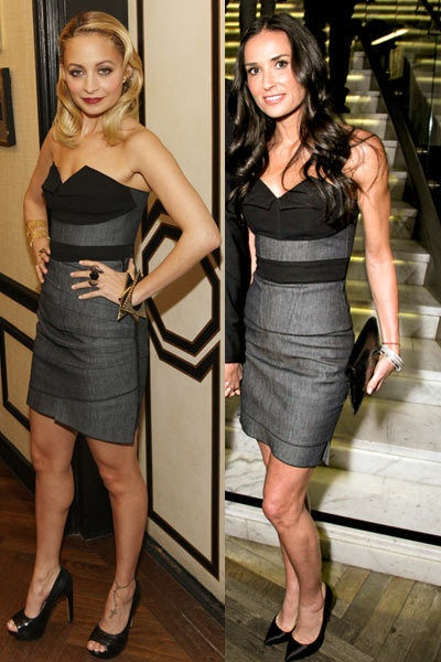 Nicole Richie and Demi Moore wearing Roland Mouret bustier and skirt
