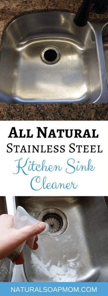Tired of a dirty looking sink? Learn how to make your own DIY kitchen sink cleaner for your stainless steel sink or white porcelain sink. These cleaning tips using baking soda, lemon, and essential oils make quick work of stuck on messes. Learn how to clean a stainless steel sink with your own homemade sink cleaning scrub. Click to get your sink cleaning hacks and get a clean sink again! @naturalsoapmom.com #sinkcleaner #kitchencleaning #kitchencleaningkits #kitchencleaner #sinkscrub…