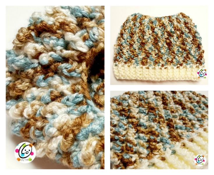 One of my favorite hats to make is my Jellybean Slouch hat, so I decided to make a messy bun /ponytail version. I hope you will enjoy making these. Jellybun Hat Click HERE to add this to your Ravelry favorites. Materials Yarn: Worsted weight yarn Sample: Red Heart Soft Icy Pond a