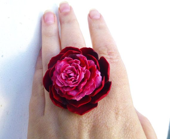 Marsala floral ring Peony ring Wine red ring Large flower ring Polymer clay Metal base Rhodium Hypoallergenic ring SIZE 8
