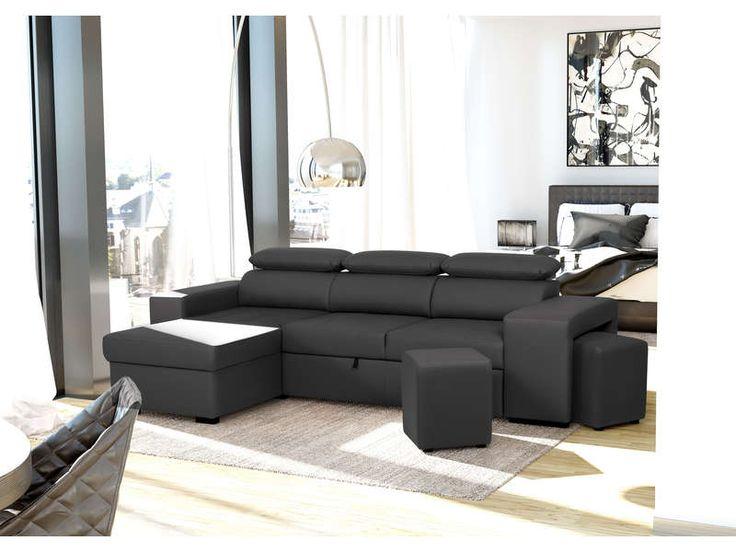 canap d 39 angle convertible 4 places flavio pas cher 2 poufs conforama pinterest. Black Bedroom Furniture Sets. Home Design Ideas