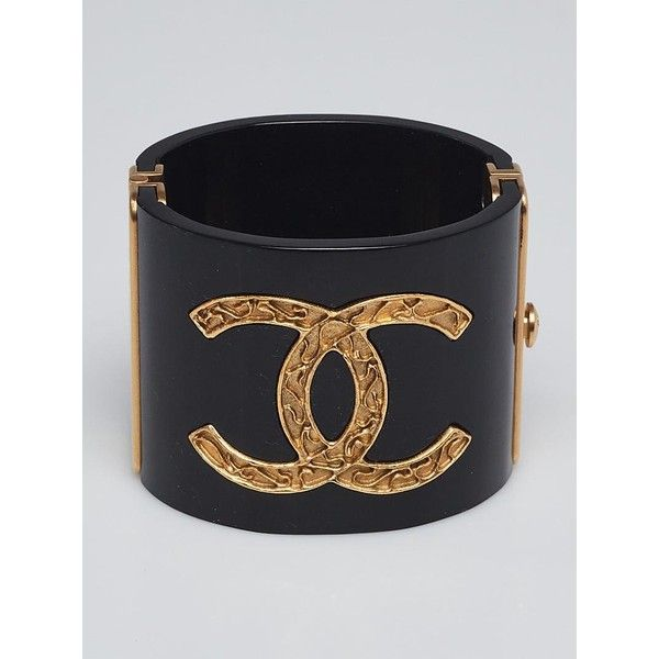 734c4f560f4 Pre-owned Chanel Black Resin and Metal CC Wide Cuff Bracelet ( 875 ...