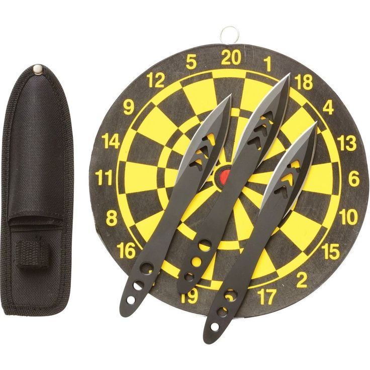 Throwing Knife Set w/Target Board 3 Steel Spear Knives Stainless Steel Blades #Rampant