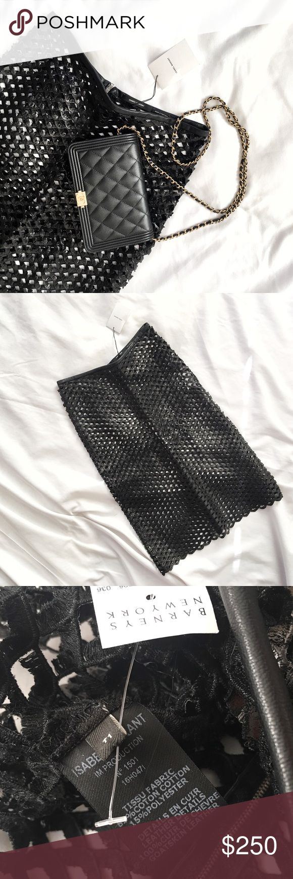 """Isabel Marant Runway Leather Skirt Always Authentic🌸 Runways collection purchased at Barney's sample sale for $425! Vegan leather fishnet skirt w/ Goatskin leather trim detail. Tag reads T1: fits sizes S-M (best fits size US 4-6) depending on the desired fit. Approx measures: 27""""length, 14.5""""waist, 18""""hip: some/very little stretch. *I personally style all pics, NO MODELING* All FINAL PRICEs listed. Bundle &save even more✅ Isabel Marant Skirts Midi"""