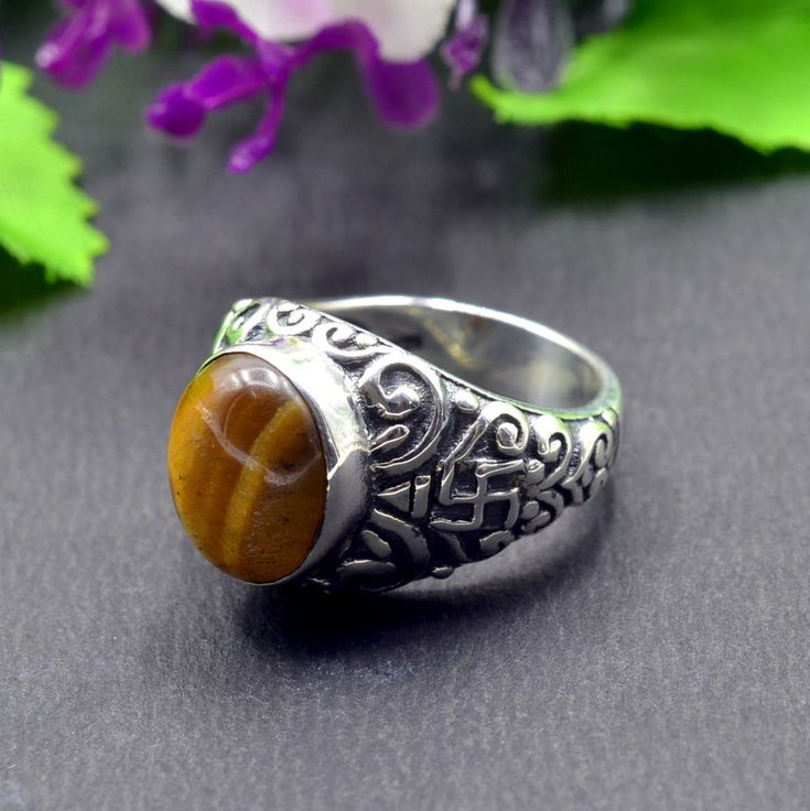 925 Solid Sterling Silver Tiger Eye Gemstone Handmade Mens Ring Size 7 US R442 #Handmade #Cluster #Party