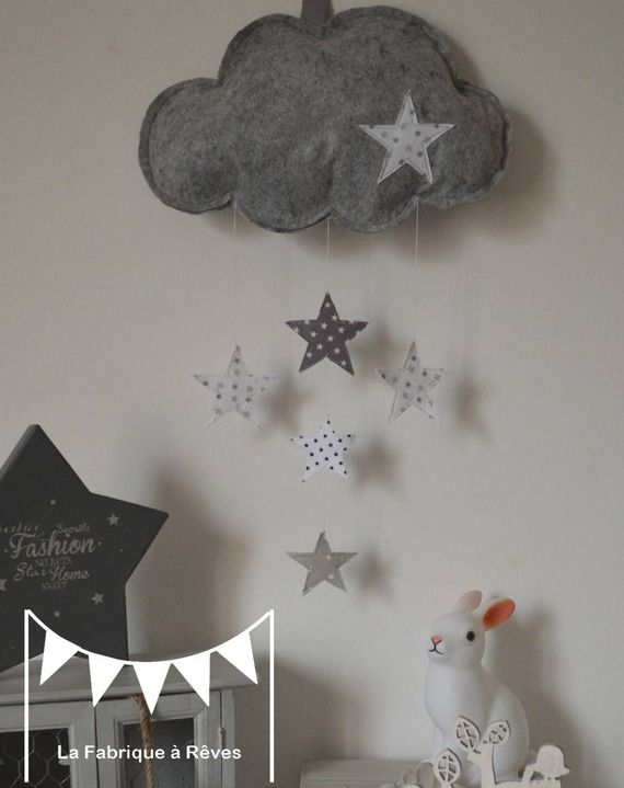 Mobile suspension nuage et toiles gris clair gris fonc for Deco chambre bebe gris