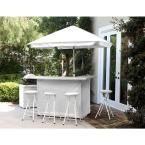 Best of Times Solid White 6-Piece All-Weather Patio Bar Set with 6 ft. Umbrella