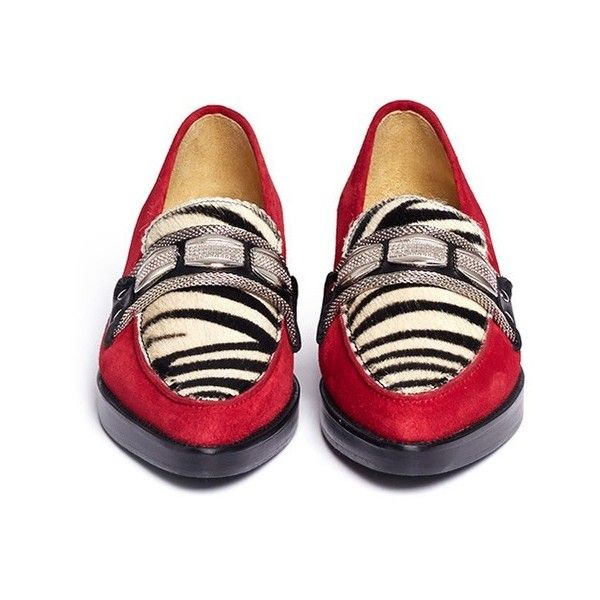 Toga Archives Zebra print pony hair suede loafers ($390) ❤ liked on Polyvore featuring shoes, loafers, embellished shoes, zebra shoes, red zebra print shoes, zebra print shoes and loafers & moccasins
