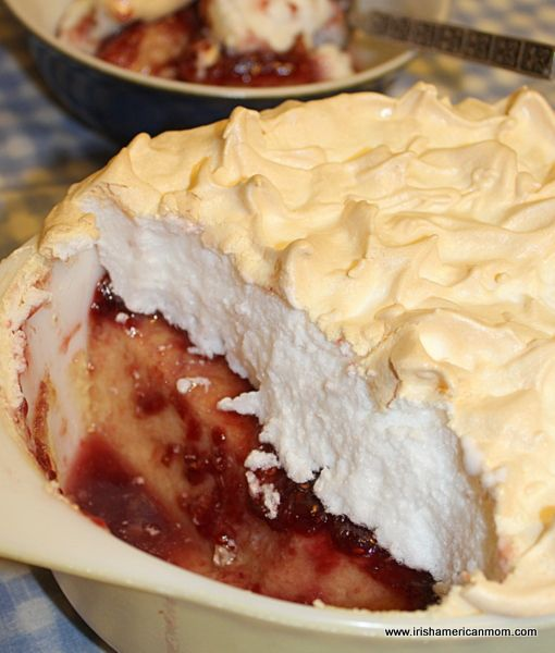 Queen of Puddings is a baked custard of eggs, milk, butter, sugar and breadcrumbs, spread with jam and topped with toasted meringue.