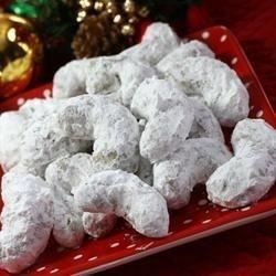 "Pecan Crescents I ""These cookies are delicious! They are a bit sweet, but go fabulous with a strong cup of coffee or tea."""