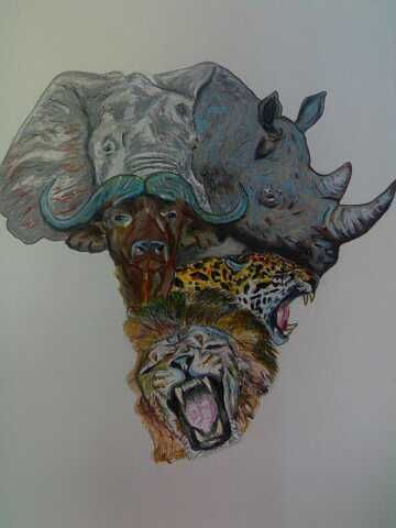 SOLD -  Big 5 Africa, created by Samuel Friday, A3 hard  page, oil pastel