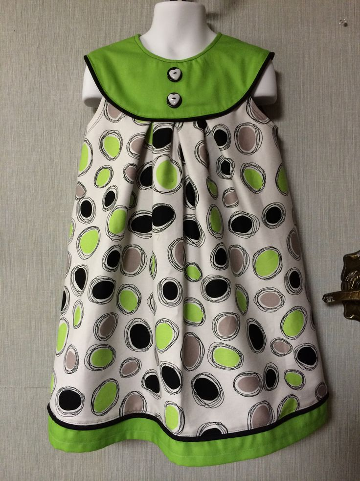 Beautiful for any season..wear as sundress, with a cardigan, or over a long sleeve t-shirt. Beautiful Lime green and black printed soft cotton blend (lined) Size 4/6...$35  Come with a free matching headband!!!