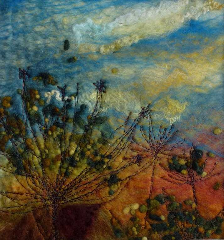Autumn Cow Parsley - Threlfalls Art Studio   Silk Paintings   Felt Paintings   Acrylics   Caren and Pete   Country, Town and Seascapes   Workshops  