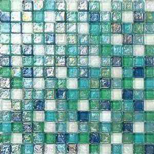 30x30cm Green Blue & White Hammered Swirl Glass Mosaic Tiles Sheet (MT0052): Amazon.co.uk: Kitchen & Home