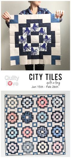 Join the City Tiles quilt quilt along. Modern fat quarter or fat eighth friendly quilt pattern for the modern quilter. Sew this quilt with over 400 other quilters during the quilt along! #quiltylove #modernquilting #cottonandsteel