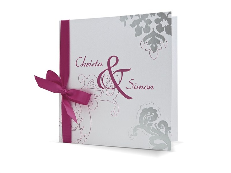 97.1463 Witte moderne trouwkaart met zilveren opdruk en roze strik, 47.1463 - Trouwkaarten.Familycards.nl