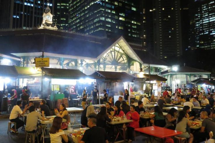 Satay stalls outside Lau Pa Sat, Singapore. Image by Sarah Reid