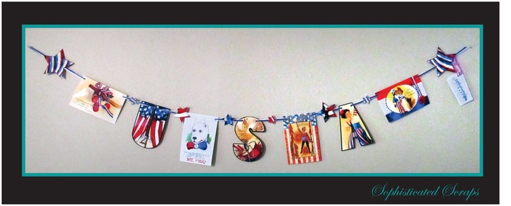 HAPPY 4TH OF JULY!! This USA Garland is made using images from vintage patriotic postcards!
