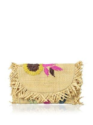 63% OFF Florabella Women's Guadelope Woven Raffia Wallet, Natural Multi