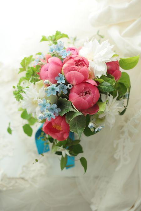 クラッチブーケ リストランテASO様へ 5月コーラルピンクのシャクヤクとブルースター メール遅延のお知らせの画像:一会 ウエディングの花