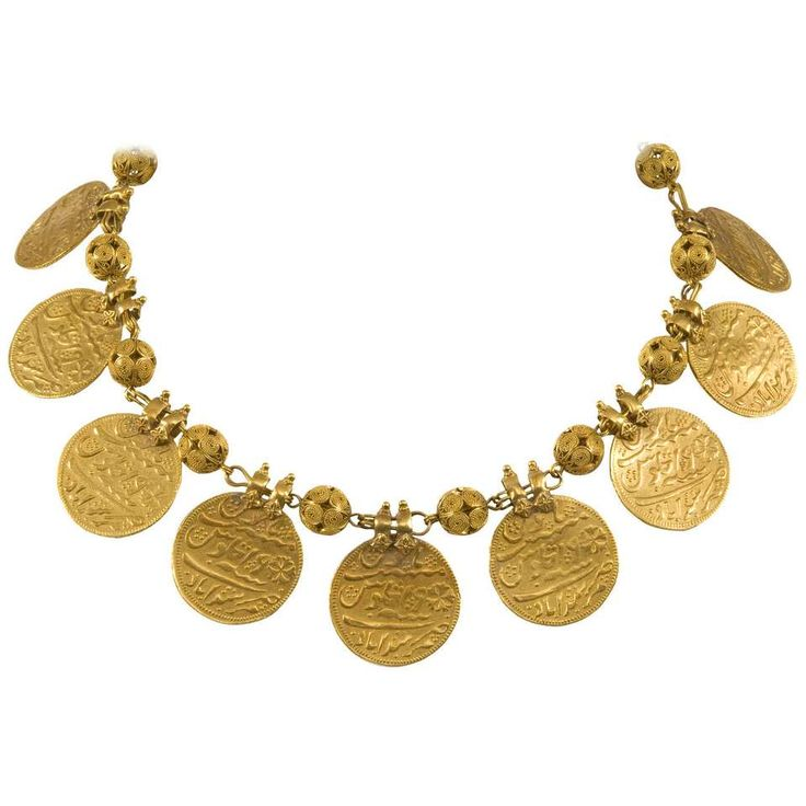 Early 20th Century Indian Kasu Malai Gold Coin Necklace 1