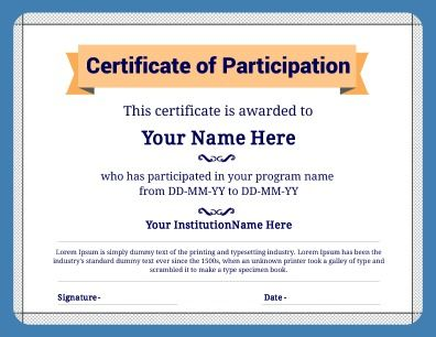 Certificate of Participation, utilizing a bold design. Use for clubs, sports, or alter to fit your own needs. 100% customizable. Try this Free Template now using the PageProdigy Cloud Designer: www.pageprodigy.com/certificate-templates