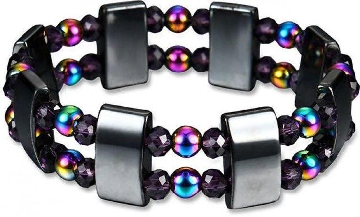 Multi-Color Double Layer Beaded Crystal Bracelet Magnetic Health Bracelet For