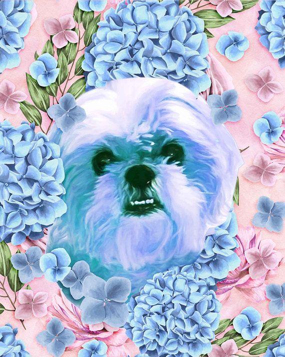 Dog flower portrait Custom dog Portrait Floral dog portrait