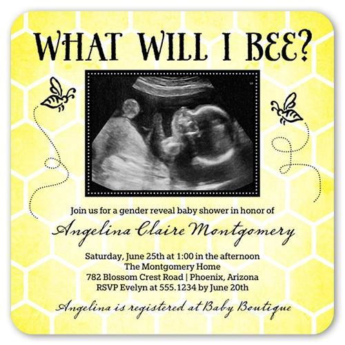 What Will I Bee 5x5 Flat Greeting Card By Poppy Studio. Shower Her With Love And A Stylish Baby