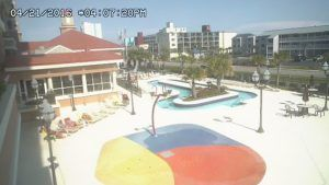 Now you can see the Tilghman Resort Pool deck anytime you want from your computer or phone.   Better yet – Make your friends and family jealous watching you on the webcam when you are here on vacation! Just visit http://www.tilghmanresort.com/north-myrtle-beach-web-cam/