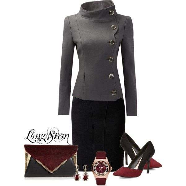 """Career Fashion - Beautiful Professional Grey Tailored Jacket and Black Pencil Skirt - """"Untitled #475"""""""